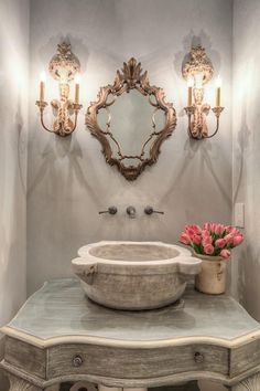 Powder rooms, bathroom inspiration, mirror inspiration, vessel sink, chic b Royal Bathroom, French Bathroom, Mirror Inspiration, Bathroom Inspiration, Bathroom Ideas, Bathroom Sinks, Wc Retro, Interior And Exterior, Interior Design
