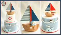 Nautical themed cakes for a baby shower. #nautical #baby #shower #boy