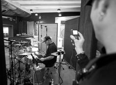 Rocky Gray of We Are The Fallen recording drum tracks on a BRADY Spotted Gum drum kit and BRADY Kosaka block snare drum at NRG Recording Studio.