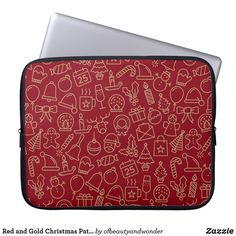 Choose from a variety of Elegant laptop sleeves or make your own! Shop now for custom laptop sleeves & more! Custom Laptop, Gold Christmas, Personalized Products, Laptop Sleeves, Create Your Own, Pattern, Red, Gifts, Bags