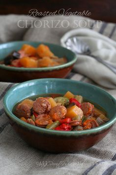 Roasted Vegetable and Chorizo Soup - Low Carb and Gluten-Free