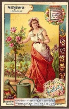 Gardening Woman Art Nouveau PRETTY c1899 Chromo Card