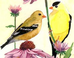 ACEO Limited Edition 3/25- Goldfinch hangout, in watercolor