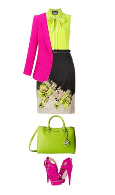Spring green is a bright, light yellow green and it looks terrific on a pure spring!Pure springs look fantastic in high energy colors and contrast. I paired this spring green top with a hot pink jacket and black skirt. LOVE.Have fun and wear what you love!Jen ThodenShop This LookBoutique