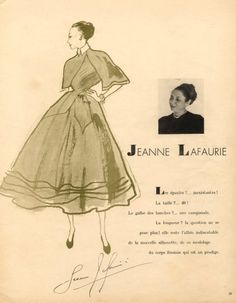 Jeanne Lafaurie 1948 Pierre Louchel Evening Gown Jeanne Lafaurie, Close Image, Fashion Sketches, Dressmaking, Evening Gowns, New Look, Illustration, Collection, Portrait