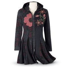 Hooded Floral Jacket - Women's Clothing & Symbolic Jewelry – Sexy, Fantasy, Romantic Fashions