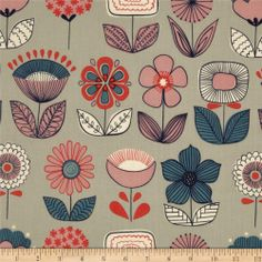 Mecca for Modern Urban Garden Flowers Grey $7.36/y Designed by De Leon Design Group