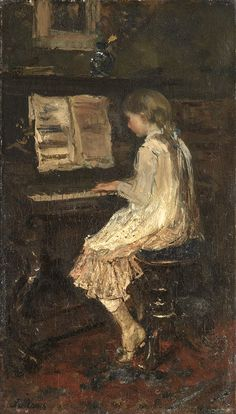 The Athenaeum - Girl at a Piano, (1879) (Jacob Henricus Maris - )