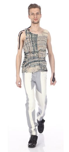 Top (macrame technique, silk & cotton yarns), trousers ( cotton, leather), shoes (leather)
