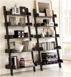 Wall Shelves For Living Room picture of outstanding storage ideas with a ladder shelving unit