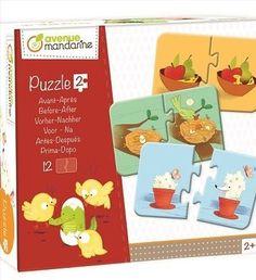 """Sok új játék érkezett az elmúlt napokban, hozzuk őket szép sorban. Most például a Párosító játékok közül az """"Előtte-utána"""" puzzle hívjuk fel a figyelmet. A legkisebb korosztálynak ideális játék, sokoldalúan fejleszti a gyerkőcöket, játékosan tanulva. A puzzle az Avenue Mandarine játékokra jellemző jó minőségben, szép képekkel készült. Puzzle, Puzzles, Jigsaw Puzzles, Riddles"""