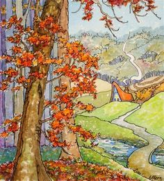 """""""The Last of Autumn Storybook Cottage Series"""" - Original Fine Art for Sale - © Alida Akers"""
