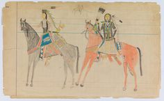 Ledger Drawing, attributed to Arapaho Artist A, ca 1880