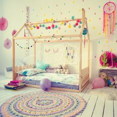 Fun colorful girls room interior idea, Toddler bed, children bed, house bed kids teepee wood house baby bed Montessori toys tent bed children bedroom bed house, nursery bed