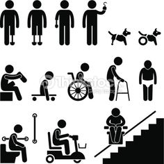 Illustration about A set of stick figure people pictograms representing amputee, handicap, and disabled people with their equipment and tools. Illustration of senior, people, person - 30112459 Illustrations Médicales, Person Icon, Dog Wheelchair, Disabled People, Disabled Dog, Clip Art, People Icon, Image Clipart, Business Icon