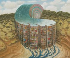One more incredible ocean library in a surreal world by Jacek Yerka