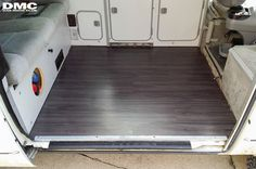 "Here is another Vanagon floor upgrade for you. This user went from a tile floor, to a vinyl ""wood floor"" and it looks great. The flooring planks are availa Kombi Camper, Kombi Motorhome, Vw Vanagon, Camper Van, Volkswagen, Vw T, Vinyl Wood Flooring, Wood Vinyl, Vw Camping"