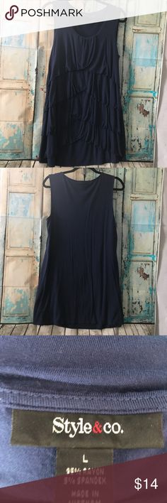 Style & Co Figure Flattering Layered Ruffle Top This is the perfect camouflage for any love handles. The ruffles are layered down the front. Dark blue color. Good, gently used and smoke free condition. Style & Co Tops Tank Tops