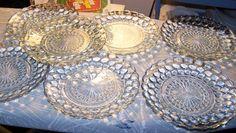 Vintage Anchor Hocking Bullseye Blue Bubble Sapphire Bread Salad Plates Set 7 | eBay