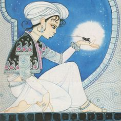 """C is for Caliphate Cricket (""""Knight's Arabian Cricket"""" by Hilary Knight, cover of Cricket magazine volume 15, number 5, January 1988)"""