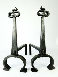 hand forged wrought ironwork fire dogs
