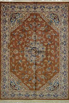 Oriental Karachi Pakistani Silk and Wool Oriental Rug, Brown/Beige