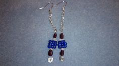 Faceted garnet pears, rainbow moonstone chips and blue coloured quartz earrings with silver plated chain www.facebook.com/KimsGlitteringGems