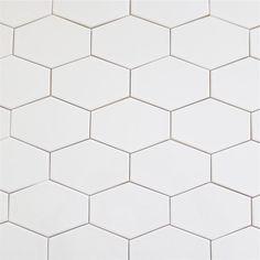 Clayhaus Stretch Hex Milk - White Ceramic Tile