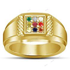 14KT Yellow Gold Finish 925 Sterling Silver  Navratna Gemstones Men's  Ring #Affoin8 #NavgrahNavratnaRing
