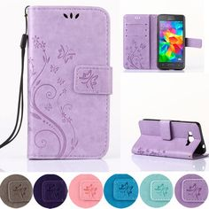 Butterfly Leather Phone Case For Samsung Galaxy Grand Core Prime G360 G355 G530 S7562 S7582 S6 S7 A5 J3 J5 Cover Wallet Holder