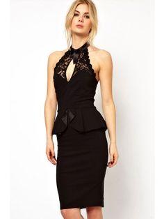 Black Peplum and High Neck Pencil Midi Dress  $28.95 http://www.sensationofnight.com/black-peplum-and-high-neck-pencil-midi-dress-6168-2.html