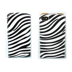 zebrapatroon+te+openen+op+en+neer+pu+leer+full+body+case+voor+de+iPhone+4+/+4s+–+EUR+€+8.50