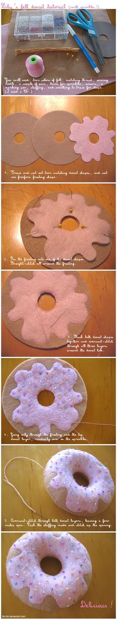felt donut pincushion: hmmmm...i think i could do that....cute