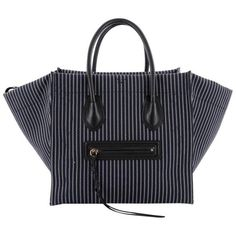 Preowned Celine Phantom Handbag Striped Canvas And Leather Medium ($1,635) ❤ liked on Polyvore featuring bags, handbags, tote bags, black, totes, leather tote handbags, hand bags, leather hand bags, handbags totes and canvas leather tote bag