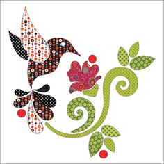 Applique Add On's - Hummingbird Set by urbanelementz - Craftsy Looking for your next project? You're going to love Applique Add On's - Hummingbird Set by designer urbanelementz. Flower Applique Patterns, Bird Applique, Applique Quilts, Embroidery Applique, Felt Patterns, Applique Ideas, Machine Embroidery, Applique Tutorial, Applique Templates
