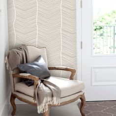 Striped Seamless Beige Removable Wallpaper Peel & by WallPlays