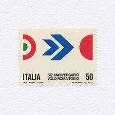 « 50th Anniversary of Flight between Rome and Tokyo (50). Italy, 1970. Design: S. Salaroli + F. Piludi. #mnh #graphilately »