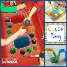 Mixing Colors - Lots of experiments from Play to Learn Preschool