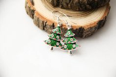 Christmas Tree Enamel Earrings Christmas Gift by kskalozubova