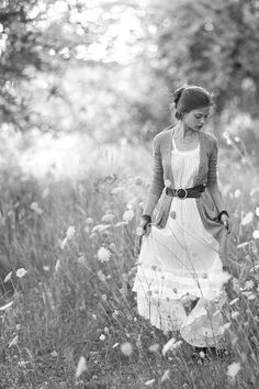 Black and white, wildflowers, and a long flowy dress