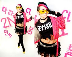 Yume Ninja, Yumeninja, NinjaSovereign.com, Rainbow hair, Asian, Sugarpill, fetish, jeremy scott, hot pink, leather jacket, chains, studs, neon, yellow, makeup, hair, choker, spike, gold, 2NE1, CL