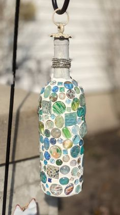 Mosaic Sea Themed Blue and Green Hanging Glass Bottle Vase by BelievesMosaics on Etsy Bottle Vase, Glass Bottles, Mosaic Tiles, Mosaics, Vintage China, Metal Beads, Flower Petals, Sea, Antiques
