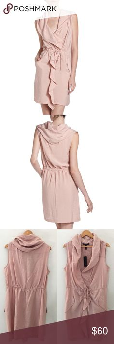 "|| BCBG Maxazria || Reagan Twill Drape Dress •BCBG Maxazria•  ""Reagan Twill Dress""   Crinkled twill.  Ruffle-trim shawl collar cascades down front.  Sleeveless.  Drawstring cinches natural waist.  Angled flap pockets at hip.  Straight skirt.  Pullover style.  Approx. 36""L.  Rayon/nylon; washable.   Brand New, with tags. Never worn.   Color: Powder/Pink  Size: L BCBGMaxAzria Dresses"