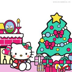 🌈🎅 Have a kawaii Christmas, beautiful people! 🎄 Hello Kitty cutely decorated her Xmas tree with fun & colorful ornaments! ✨🎀 We hope yours is just as kawaii, too! Hello Kitty Christmas Tree, Christmas Cats, Christmas Greetings, Christmas Images, Xmas Tree, Christmas Stuff, Hello Kitty Vans, Hello Kitty My Melody, Grinch