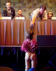 """The littlest Browncoat.  Because he will always, always be Captain Malcolm Reynolds to us, even at a """"Castle"""" panel....."""