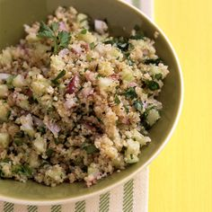 This salad can be made with couscous instead of bulgur. Cook one cup couscous according to package instructions. Bulgur Salad, Couscous, Coucous Salad, Salad Recipes, Vegan Recipes, Vegan Foods, Delicious Recipes, Clean Eating, Healthy Eating