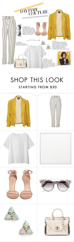 """Daytime Couture"" by tfashionspeaks ❤ liked on Polyvore featuring River Island, Topshop, Uniqlo, By Lassen, Stuart Weitzman, Jimmy Choo, WWAKE, Diane Von Furstenberg, womenfashion and fashionset"