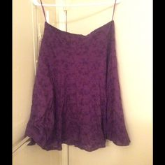 Purple skirt with embroidered flower print 100% cotton deep purple skirt with flower embroidery pattern Suzy Shier Skirts A-Line or Full