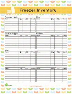 free Freezer Inventory Printable