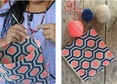 Purchase a clutch from the Katie Kime X Mariya collection, each one is handwoven by indigenous Colombian artisans and a portion of the profit goes back to support their community Diy Crochet And Knitting, Crochet Wool, Mochila Crochet, Tapestry Crochet Patterns, Cat Cross Stitches, Tapestry Bag, Fabric Purses, Crochet Accessories, Yarn Crafts